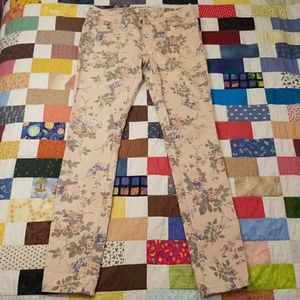 HOT KISS Pink Floral Skinny Jeans Womens Sz 4
